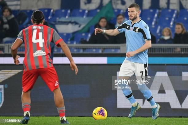 Valon Berisha of SS lazio in action during the Coppa Italia match between SS Lazio and US Cremonese at Olimpico Stadium on January 14 2020 in Rome...
