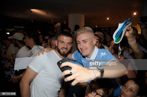Valon Berscha of SS Lazio attend the SS Lazio unveil new shirt for 201819 Season on July 12 2018 in Rome Italy