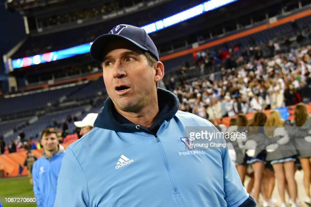 Valor Christian head coach Ed McCaffrey leaves field after winning of Class 5A state football championship game against Cherry Creek at Broncos...