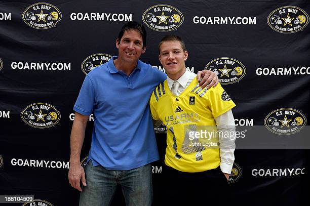 Valor Christian High School football player standout Christian McCaffrey stands with his dad Ed McCaffrey during his US AllAmerican Bowl jersey...