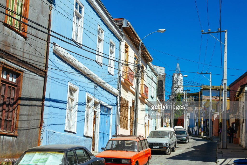 Valparaiso (Chile), city registered as a UNESCO World Heritage Site. Architecture, colourful houses.