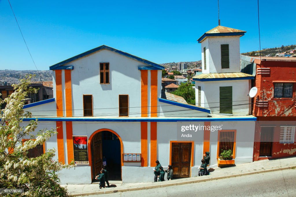 Valparaiso (Chile), city registered as a UNESCO World Heritage Site. Colourful houses.