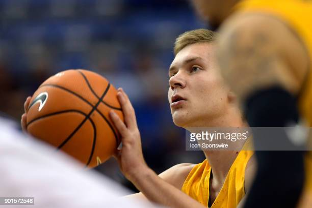 Valparaiso Crusaders center Derrik Smits shoots a free throw during the college basketball game between the Valparaiso Crusaders and the Indiana...