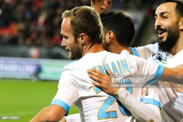 Valère Germain of Marseille celebrates after scoring a goal during the french League Cup match Round of 16 between Rennes and Marseille on December...
