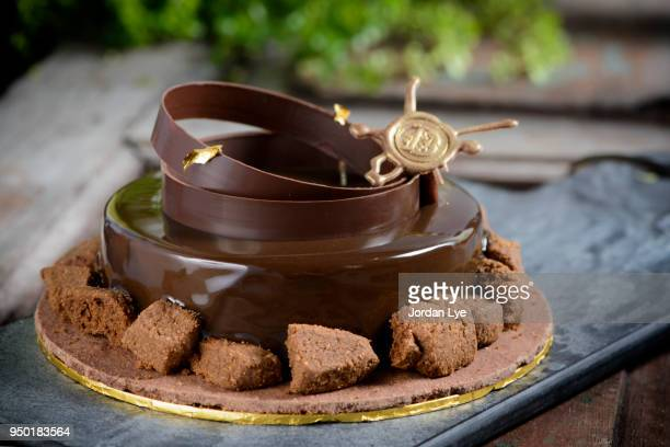 valrhona tart chocolate - fudge stock pictures, royalty-free photos & images