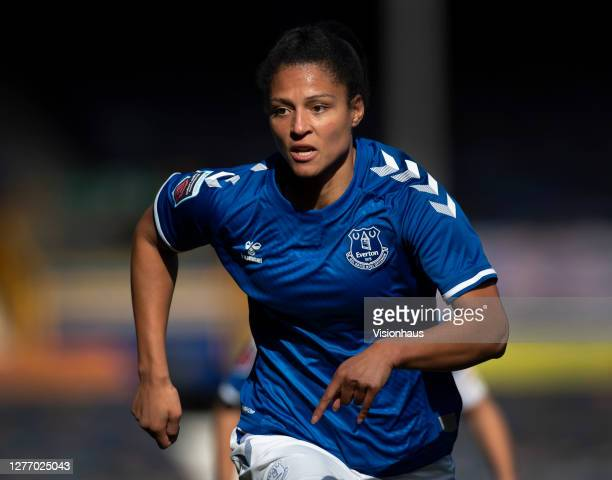 Valérie Gauvin of Everton in action during the Womens FA Cup Quarter Final match between Everton FC and Chelsea FC at Goodison Park on September 27...