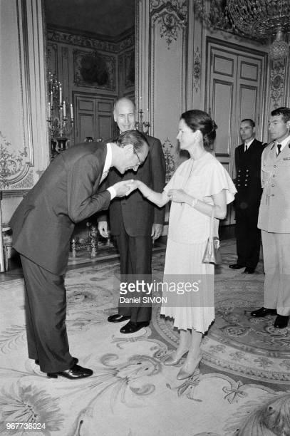 Valéry Giscard d'Estaing AnneAymone Giscard d'Estaing et Jacques Chirac lors de la réception organisée au Palais de l'Elysée le 14 juillet 1978 paris...