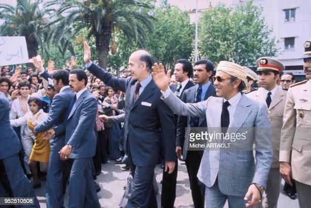 Valéry Giscard d'Estaing en visite au Maroc avec le roi Hassan II le 5 mai 1975 à Marrakech.
