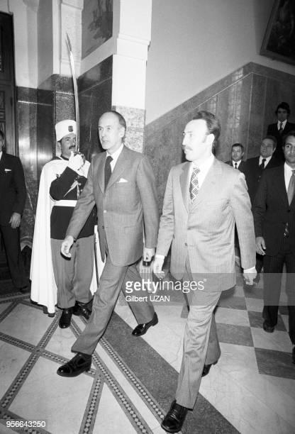Valéry Giscard d'Estaing et Houari Boumédiène lors de la visite officielle du président français à Alger le 10 avril 1975 Algérie