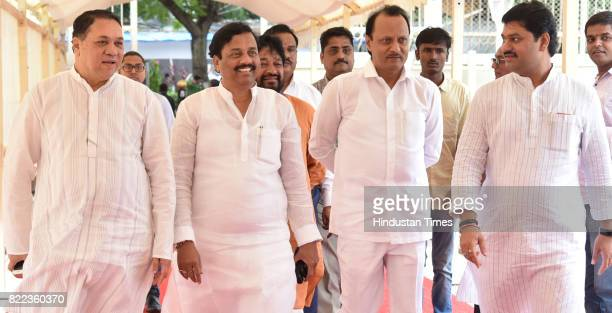 Valse Patil Sunil Tatkare Ajit Pawar and Dhanajay Munde during the Monsoon Assembly Session at Vidhan Bhavan on July 24 2017 in Mumbai India