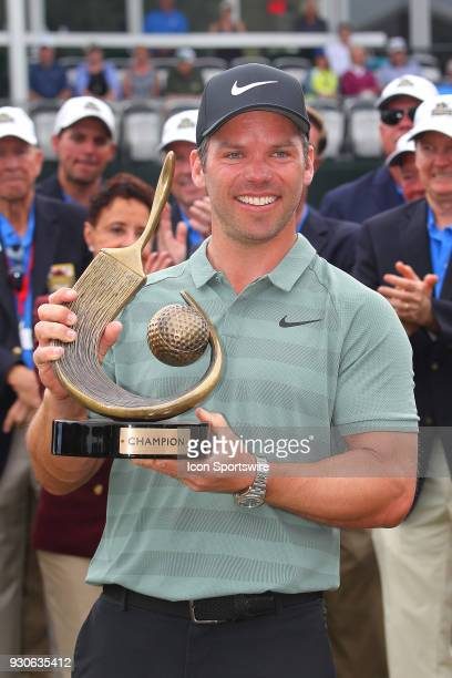 Valspar champion Paul Casey poses with the winner's trophy after the final round of the Valspar Championship on March 11 at Westin...