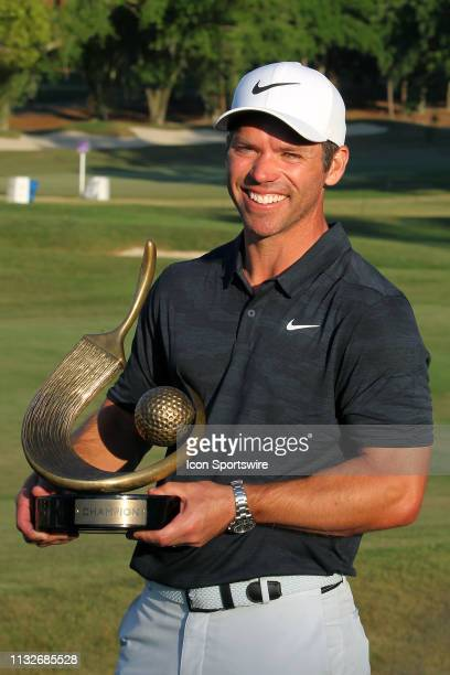 Valspar champion Paul Casey poses with the winning trophy after the final round of the Valspar Championship on March 24 at Westin...