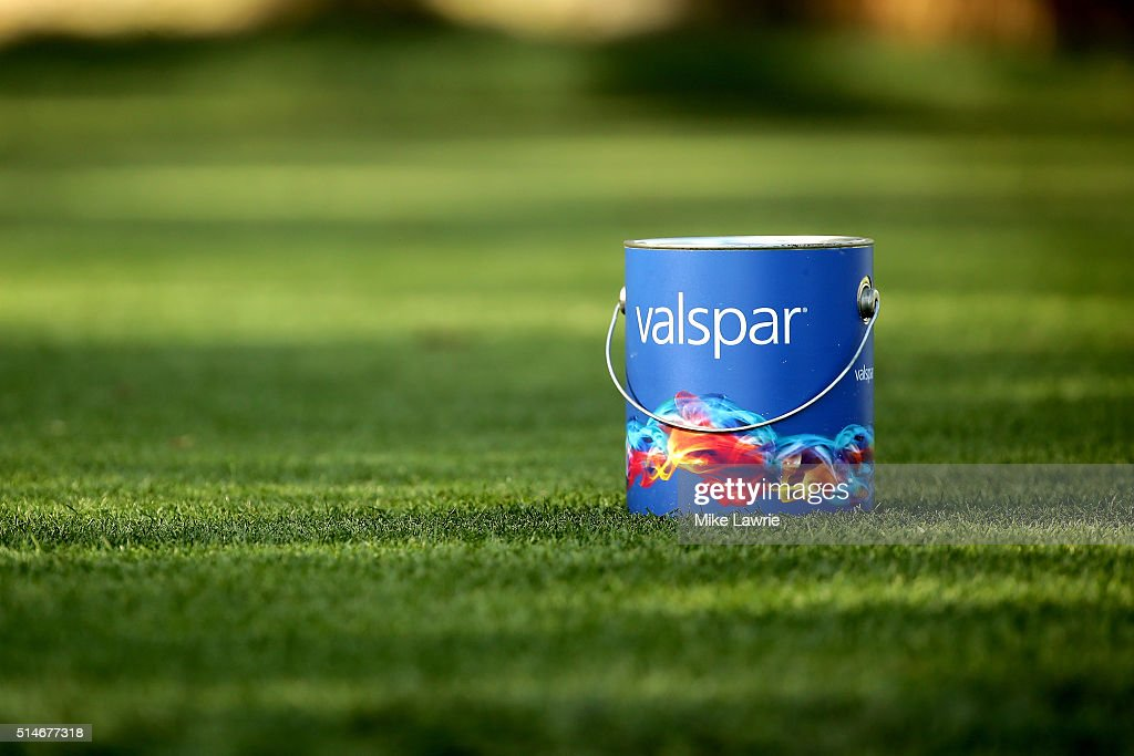A Valspar paint can tee marker sits on the second tee during