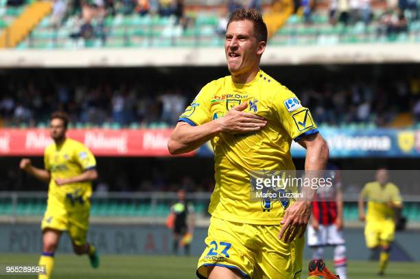 Valter Birsa of AC Chievo Verona celebrates after scoring the opening goal during the serie A match between AC Chievo Verona and FC Crotone at Stadio...