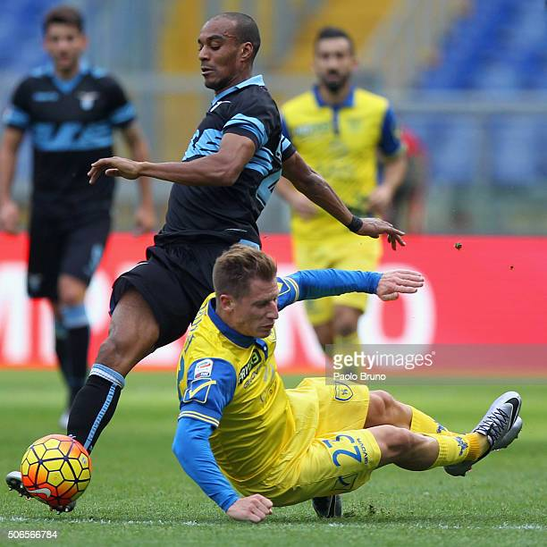 Valter Birsa of AC Chievo Verona competes for the ball with Abdoulay Konko of SS Lazio during the Serie A match between SS Lazio and AC Chievo Verona...