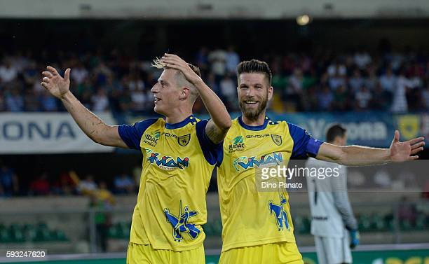Valter Birsa of AC ChievoVerona celebrate with his team's mate Bostjan Cesar after scoring his team's secomd goal during the Serie A match between AC...