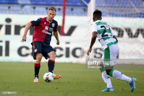 Valter Birsa of Cagliari in action during the Serie A match between Cagliari Calcio and US Sassuolo at Sardegna Arena on July 18 2020 in Cagliari...