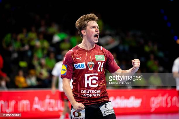 Valter Chrintz of Fuechse Berlin celebrating during the EHF Handball European League match between Fuechse Berlin and KS Azoty-Pulawy at...