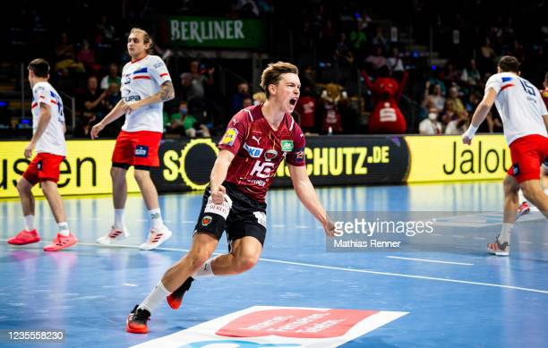 Valter Chrintz of Fuechse Berlin during the EHF Handball European League match between Fuechse Berlin and KS Azoty-Pulawy at Max-Schmeling Halle on...
