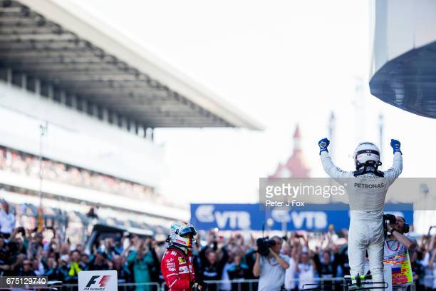 Valterri Bottas of Mercedes and Finland wins the Formula One Grand Prix of Russia on April 30 2017 in Sochi Russia