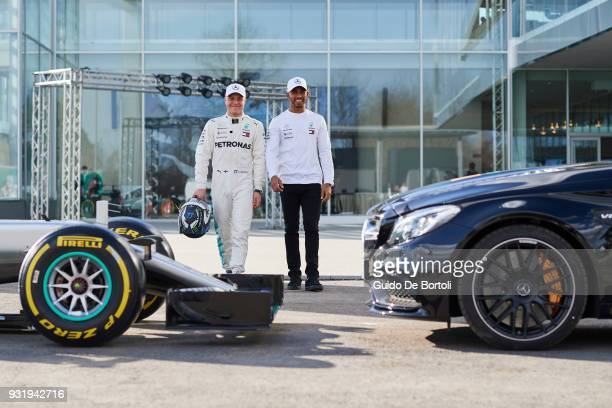 Valtteri Bottas and Lewis Hamilton MercedesAMG PETRONAS Motorsport drivers attend the PETRONAS Global Research and Technology Centre Preview on March...