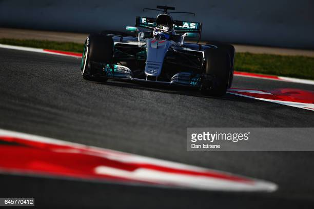 Valtteri Bottas driving the Mercedes AMG Petronas F1 Team Mercedes F1 WO8 on track during day one of Formula One winter testing at Circuit de...