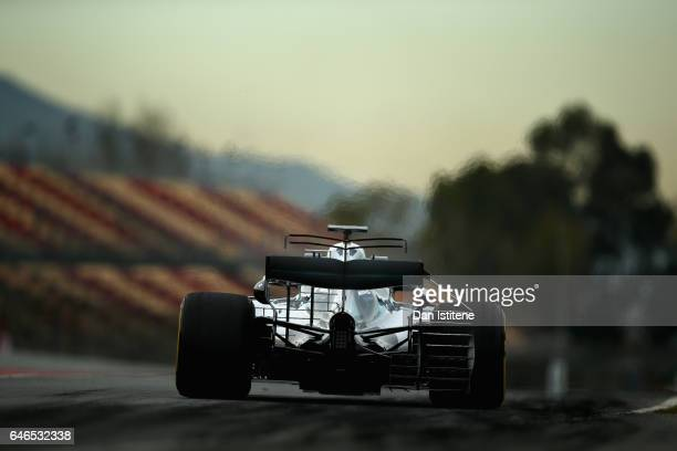 Valtteri Bottas driving the Mercedes AMG Petronas F1 Team Mercedes F1 WO8 leaves the pits during day three of Formula One winter testing at Circuit...