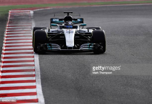 Valtteri Bottas driving the Mercedes AMG Petronas F1 Team Mercedes F1 WO8 on track during day three of Formula One winter testing at Circuit de...