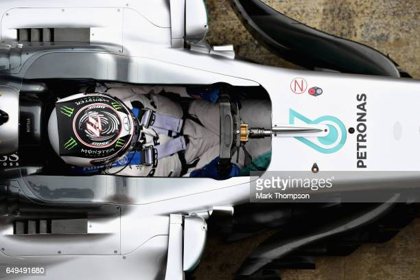 Valtteri Bottas driving the Mercedes AMG Petronas F1 Team Mercedes F1 WO8 in the Pitlane during day two of Formula One winter testing at Circuit de...
