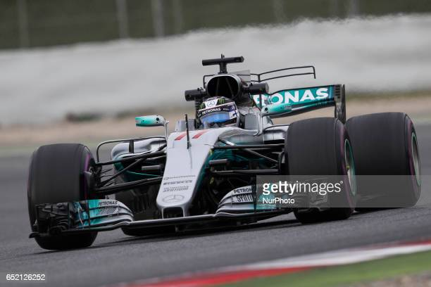 Valtteri Bottas driving the Mercedes AMG Petronas F1 Team Mercedes F1 WO8 in action during the Formula One winter testing at Circuit de Catalunya on...