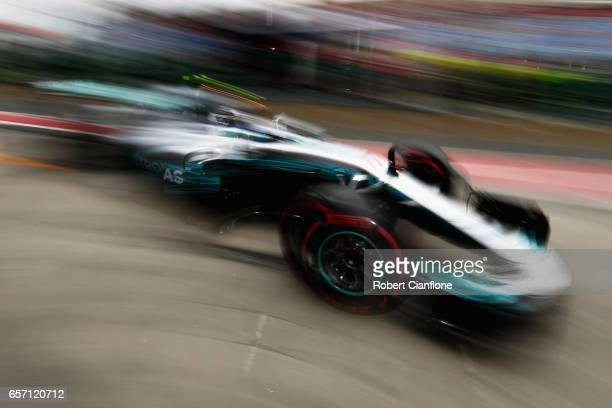 Valtteri Bottas driving the Mercedes AMG Petronas F1 Team Mercedes F1 WO8 in the Pitlane during practice for the Australian Formula One Grand Prix at...