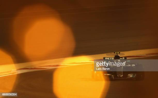 Valtteri Bottas driving the Mercedes AMG Petronas F1 Team Mercedes F1 WO8 on track during qualifying for the Bahrain Formula One Grand Prix at...