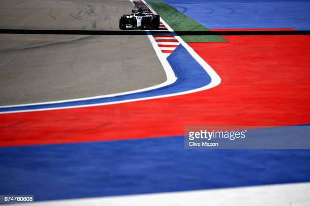 Valtteri Bottas driving the Mercedes AMG Petronas F1 Team Mercedes F1 WO8 on track during qualifying for the Formula One Grand Prix of Russia on...