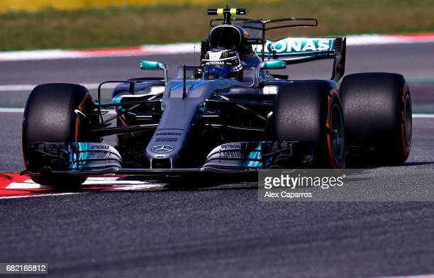 Valtteri Bottas driving the Mercedes AMG Petronas F1 Team Mercedes F1 WO8 on track during practice for the Spanish Formula One Grand Prix at Circuit...