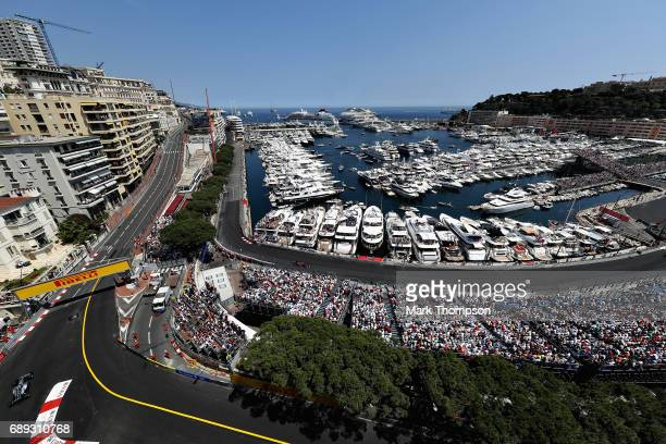 Valtteri Bottas driving the Mercedes AMG Petronas F1 Team Mercedes F1 WO8 on track during the Monaco Formula One Grand Prix at Circuit de Monaco on...