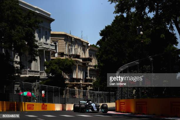 Valtteri Bottas driving the Mercedes AMG Petronas F1 Team Mercedes F1 WO8 on track during practice for the European Formula One Grand Prix at Baku...