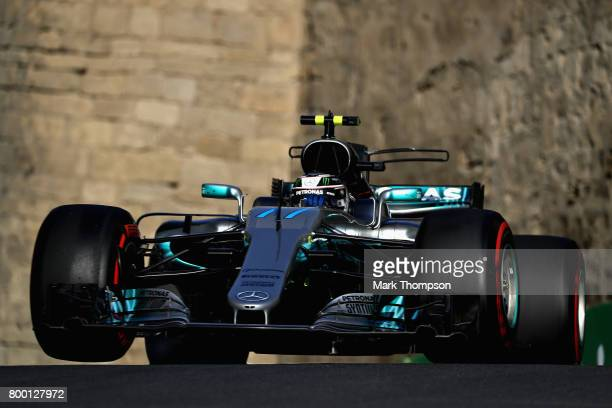 Valtteri Bottas driving the Mercedes AMG Petronas F1 Team Mercedes F1 WO8 on track during practice for the Azerbaijan Formula One Grand Prix at Baku...