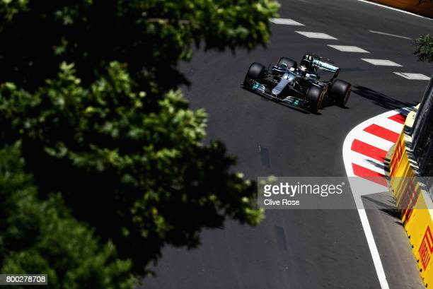 Valtteri Bottas driving the Mercedes AMG Petronas F1 Team Mercedes F1 WO8 on track during final practice for the Azerbaijan Formula One Grand Prix at...