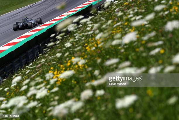 Valtteri Bottas driving the Mercedes AMG Petronas F1 Team Mercedes F1 WO8 on track during practice for the Formula One Grand Prix of Austria at Red...