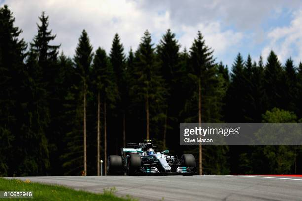 Valtteri Bottas driving the Mercedes AMG Petronas F1 Team Mercedes F1 WO8 on track during final practice for the Formula One Grand Prix of Austria at...
