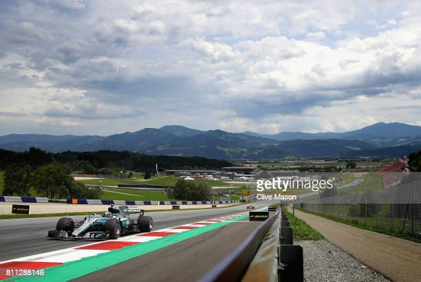Valtteri Bottas driving the Mercedes AMG Petronas F1 Team Mercedes F1 WO8 on track during the Formula One Grand Prix of Austria at Red Bull Ring on...