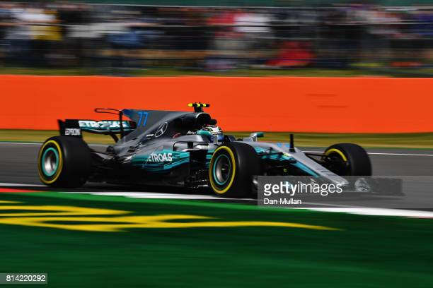 Valtteri Bottas driving the Mercedes AMG Petronas F1 Team Mercedes F1 WO8 on track during practice for the Formula One Grand Prix of Great Britain at...