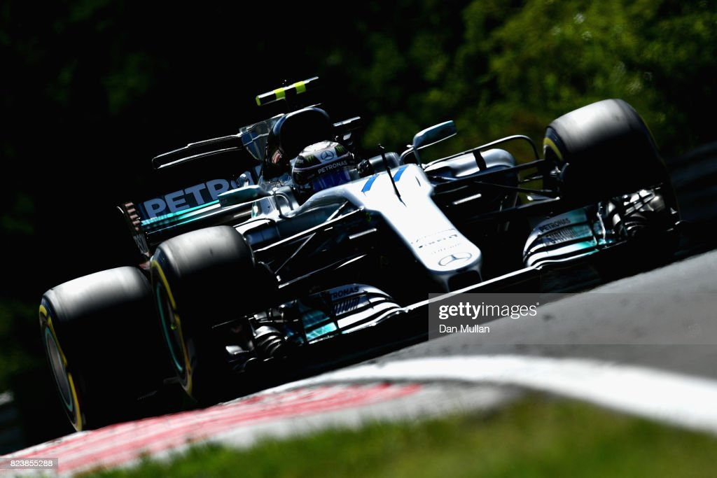 Valtteri Bottas driving the (77) Mercedes AMG Petronas F1 Team Mercedes F1 WO8 on track during practice for the Formula One Grand Prix of Hungary at Hungaroring on July 28, 2017 in Budapest, Hungary.