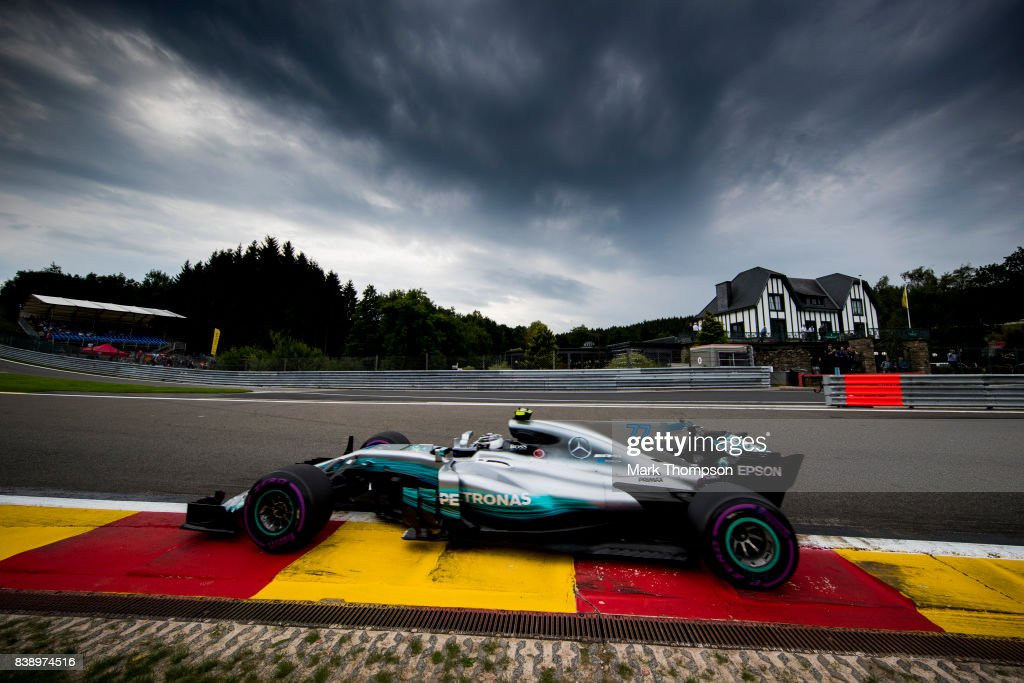 Valtteri Bottas driving the (77) Mercedes AMG Petronas F1 Team Mercedes F1 WO8 on track during practice for the Formula One Grand Prix of Belgium at Circuit de Spa-Francorchamps on August 25, 2017 in Spa, Belgium.