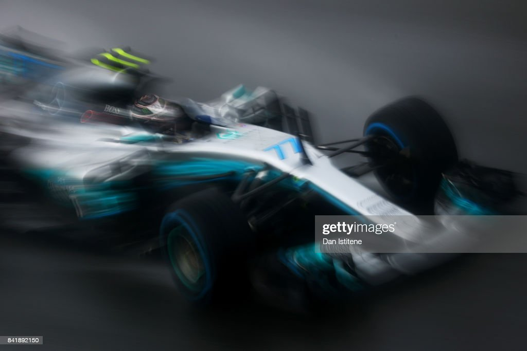 Valtteri Bottas driving the (77) Mercedes AMG Petronas F1 Team Mercedes F1 WO8 on track during qualifying for the Formula One Grand Prix of Italy at Autodromo di Monza on September 2, 2017 in Monza, Italy.