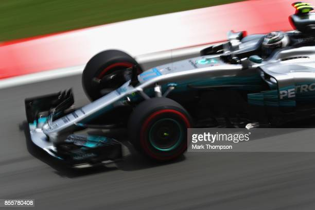 Valtteri Bottas driving the Mercedes AMG Petronas F1 Team Mercedes F1 WO8 on track during final practice for the Malaysia Formula One Grand Prix at...