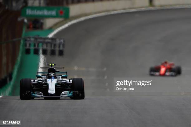 Valtteri Bottas driving the Mercedes AMG Petronas F1 Team Mercedes F1 WO8 on track during qualifying for the Formula One Grand Prix of Brazil at...