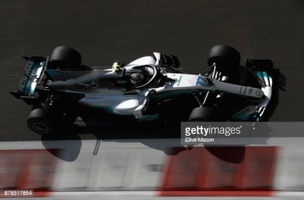 Valtteri Bottas driving the Mercedes AMG Petronas F1 Team Mercedes F1 WO8 on track during practice for the Abu Dhabi Formula One Grand Prix at Yas...
