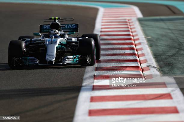 Valtteri Bottas driving the Mercedes AMG Petronas F1 Team Mercedes F1 WO8 on track during final practice for the Abu Dhabi Formula One Grand Prix at...