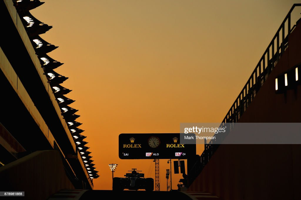 Valtteri Bottas driving the (77) Mercedes AMG Petronas F1 Team Mercedes F1 WO8 in the Pitlane during qualifying for the Abu Dhabi Formula One Grand Prix at Yas Marina Circuit on November 25, 2017 in Abu Dhabi, United Arab Emirates.